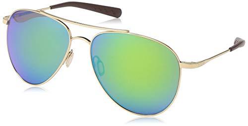 Costa Del Mar Men's Cook Aviator Sunglasses, Gold/Green Mirrored Polarized-580P, 60 mm