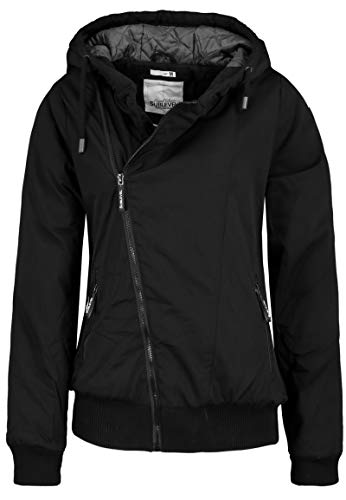Sublevel Damen Winter-Jacke mit Kapuze warm gefüttert Black XXL