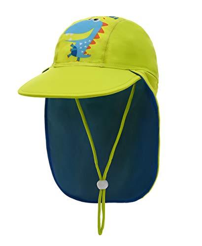 Foruhoo Baby Mütze UV-Schutz 50 mit Kordelzug for Jungen, Breite Krempe Sommerhut Sonnenhut (53cm / 3-6 Jahre, Dinosaurier Grün)