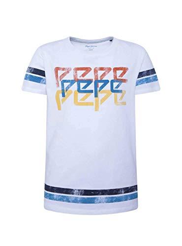 Pepe Jeans Jungen Adrian T-Shirt, Weiß (Optic White 802), 12-13 Jahre (Herstellergröße: 12)