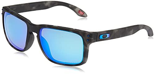 Oakley Men's OO9102 Holbrook Square Sunglasses, Matte Black Tortoise/Prizm Sapphire Polarized, 57 mm