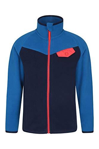 Mountain Warehouse Vesuvius Kinder-Kontrastfleece, Mikrofleece-Sweatshirt, Brusttasche, ideal für den Winterspaziergang, Reise und Urlaub Petrolblau 128 (7-8 Jahre)