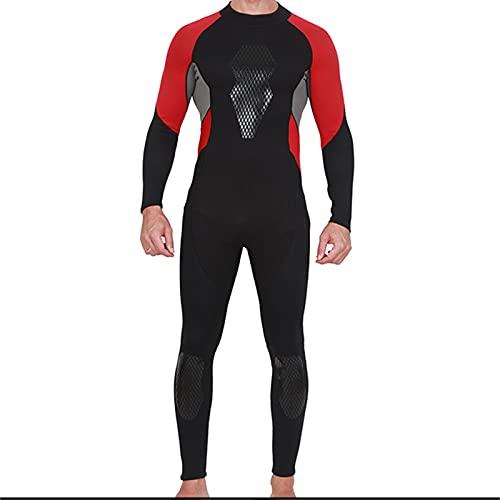 WXHXSRJ Traje de Neopreno para Adultos, Traje de Neopreno de 3 mm de Longitud Completa para Hombre, Traje de baño de Manga Larga con protección UV para Nadar para Practicar Surf,XXXL