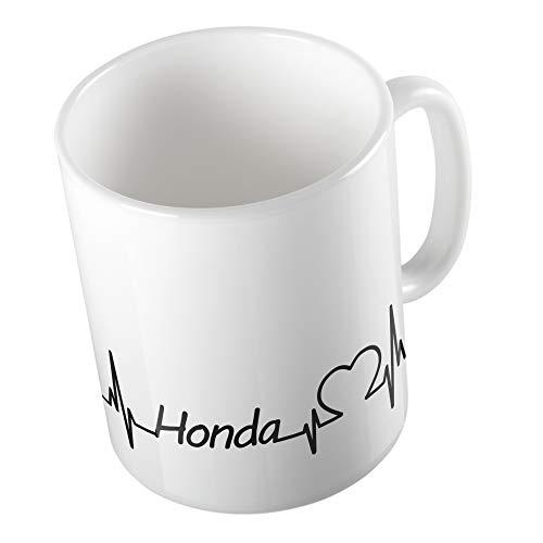Bedruckte Tasse Becher für Honda Fans Herzschlag Puls Herz Automarke Marke Liebe