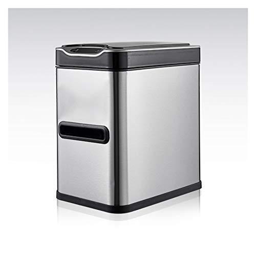 YIXIN2013SHOP Cubo de Basura Basura de inducción Inteligente para el hogar con Tapa 7l Baño de baños con Cepillo de Inodoro y Caja de Tejido Basura automática de Acero Inoxidable Papeleras