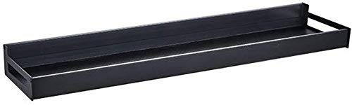 Badkamerrek Plank, Ruimte Aluminium Keukenplank Wandmontage Keuken Kruidenrek Organizer Opslag met 4 Haken Keukengerei Houder Organizer Badkamer Hardware, Zwart (Maat: 60.5cm)