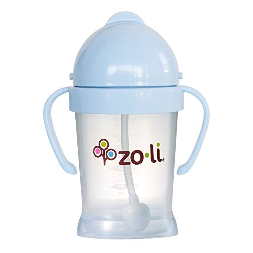ZoLi BOT weighted straw sippy cup   Mist Blue, 6 oz, BPA free, Baby's first straw cup – Baby Shower Gift