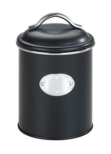 WENKO Aufbewahrungsdose Nero, 1 Liter, Frischhaltedose zur luftdichten Aufbewahrung von Lebensmitteln, wasserdicht, aus lackiertem Metall mit Applikation, Retro-Design, Ø 11,5 x 16,5 cm, Schwarz