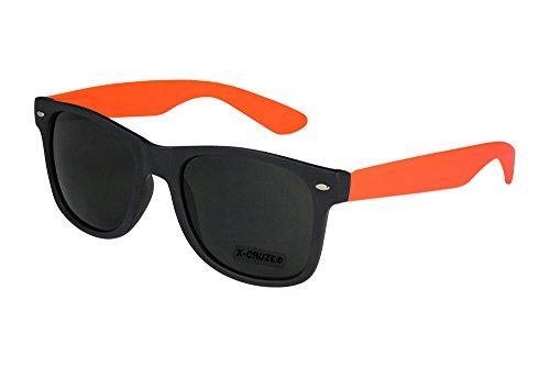 X-CRUZE® 8-065 X01 Nerd Sonnenbrille Style Stil Retro Vintage Retro Unisex Herren Damen Männer Frauen Brille Nerdbrille - schwarz matt/rot-orange matt