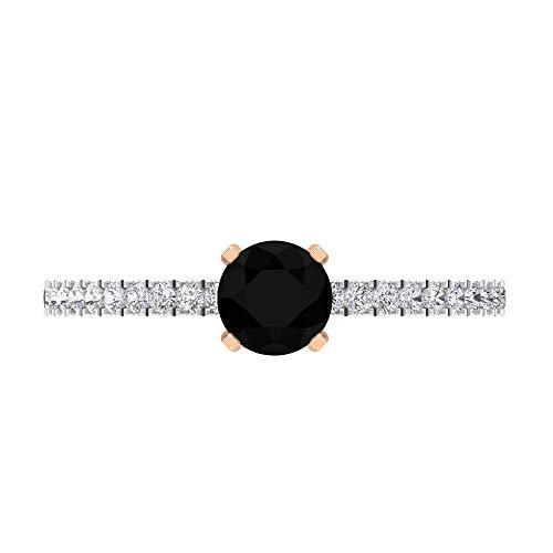 Anillo de compromiso de diamante negro solitario de 5 mm, anillo de compromiso de diamante HI-SI, anillo de compromiso de dos tonos, oro de 14 quilates, Metal, Diamond,