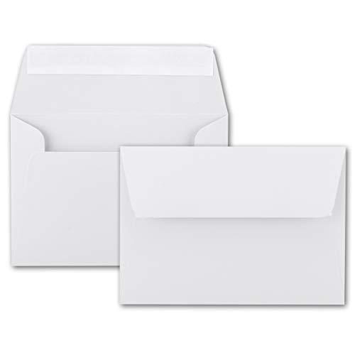 100x Brief-Umschläge B6 - Weiß - 12,5 x 17,5 cm - Haftklebung 120 g/m² - breite edle Verschluss-Lasche - hochwertige Einladungs-Umschläge