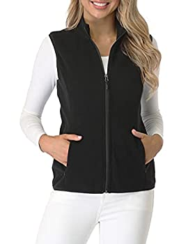 Fuinloth Women s Fleece Vest Polar Soft Sleeveless Classic Fit with Zip up Pockets Black Large