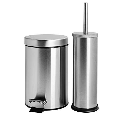 Badezimmer-Set mit Treteimer & Toilettenbürste - Eimer mit 3 Liter Volumen - Matte Oberfläche