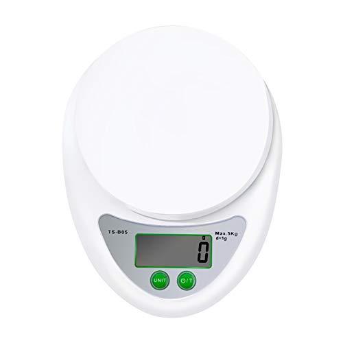 JORSHIMAN Básculas para Alimentos de Cocina, Báscula Electrónica de Cocina para Cocinar, Báscula de Cocina Digital de Precisión Hornear - Pesaje: 1 g - 5 kg/11lbs (Blanco)