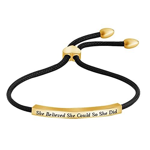 Inspirational Bracelet, Pulsera de Aliento que Ella Creía Que Podía, Así Que lo Hizo Cuerda de Tejido Ajustable para Mujeres y Niñas