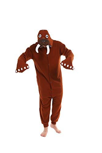 Markest Onesie Neutral Adult Pajamas Animal Walrus Cosplay Costume Pajamas Coffee, X-Large