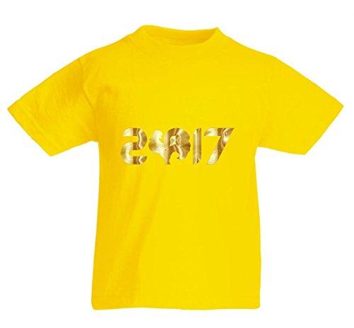Camiseta de manga corta con diseño de zanzig, de la serie Siebzehn de 2017, animales, arte asiático, barnyard, calendario de aves, gallina, chino, oro para hombre, mujer, niños, 104 – 5 XL amarillo 152 cm