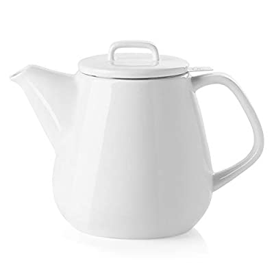 SWEEJAR Ceramic Teapot, Large Tea Pot with Stainless Steel Infuser, 40 Ounce, Blooming & Loose Leaf Teapot for Tea Lover, Gift, Family,(White)