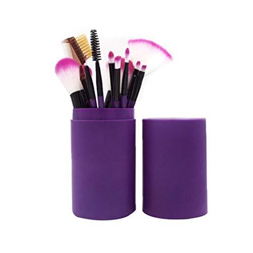 Pinceau de maquillage Set débutants Ensemble complet d'outils de maquillage Barrel brosse de maquillage poignée en plastique Barrel Powder Puff Correcteur Ombre à paupières pinceau blush