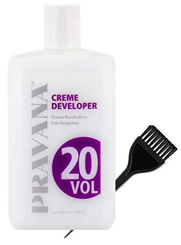 Pravana ChromaSilk Color Coloring Creme Developer (w/Sleek Brush) Chroma Silk Cream Hydrogen Peroxide for Permanent Haircolor Dye, Lighteners, Hair Color (20 Volume / 6% - 33.8 ounce)