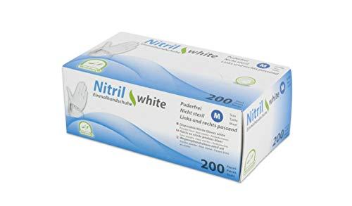 Einmalhandschuhe Puderfrei Nitril Einweghandschuhe Medi-Inn Big Box Fabauswahl(weiß,M (7-8),200 Stück)
