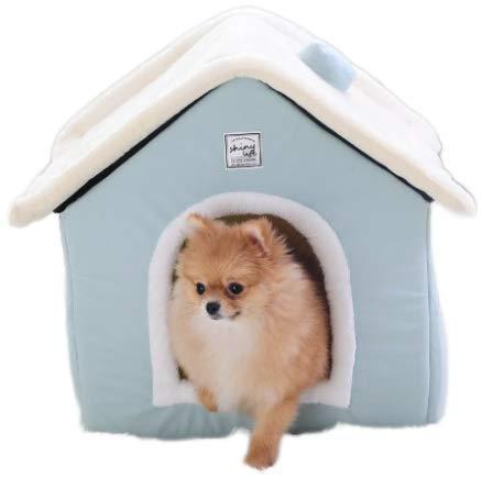 casa de Perro y Gato para Interior, cálida Perrera, Nido de Cueva de Gato, Esterilla extraíble Lavable, Cama de Dormir acogedora para Gatos y Perros (XS, Azul Claro)