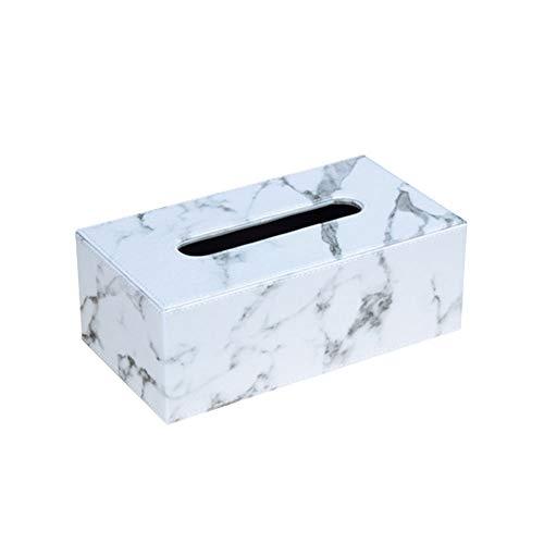 MultiBey Marble Print Tissue Holder Dispenser Rectangular PU Napkin Box Pumping Paper Towel Box Cover for Car Bathroom Living Room N Office (Large)