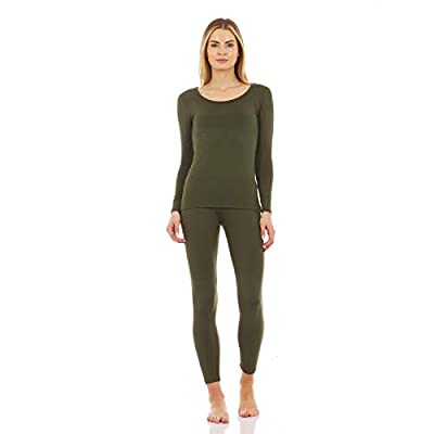 Thermajane Women's Scoop Neck Thermal Underwear Ultra Soft Long Johns Set with Fleece Lined (Olive Green, L)