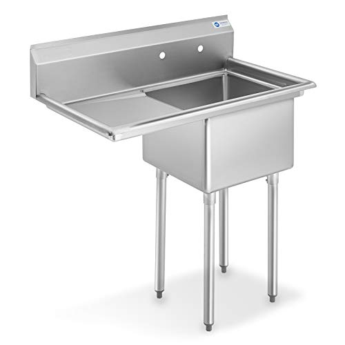 Nsf Stainless Steel 18″ Single Bowl Commercial Kitchen Sink With Right Drainboard – 12 in. Deep