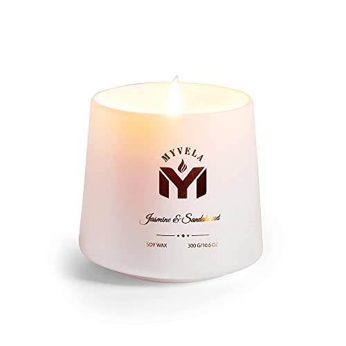 Mmyvela Scented Candles / Jasmine and Sandalwood Fragrance / 10.6 Oz Aromatherapy Soy Wax Candle for...