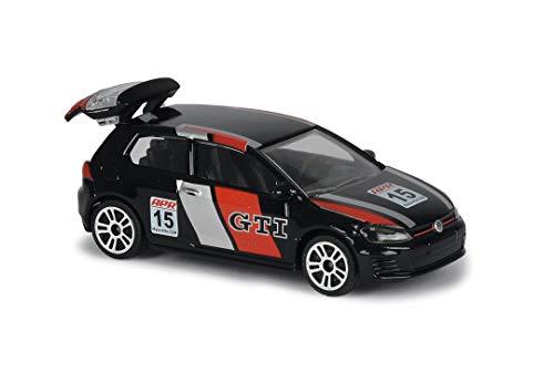 Majorette 212084009Q02 Racing VW Golf GTI, Spielzeugauto mit Freilauf, zu öffnende Teile, Auto aus Metall, Sammlerflyer, Maßstab 1:64, 7,5 cm, ab 3 Jahren, schwarz/rot, Weiss