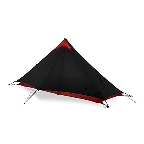 BAJIE tent Gear Lan Shan 1 Ultralight 15D Silicone Coated 1 Man Single Person Backpacking Tent 3 Season For Camping Hiking Trekking 15D Black 1 People