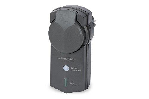 ednet Smart Alarm Funksteckdose für den Außenbereich, Empfängereinheit, Spritzwassergeschützt (IP44)