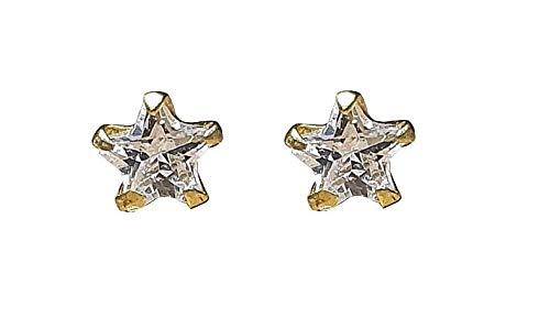 Satfale Jewellers Pendientes de oreja de oro fino de 9 quilates sólidos con circonita cúbica en forma de estrella de 3 mm