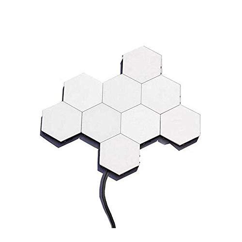 Creativo Hexagonal Escote De Pared Con Smart Touch Sensitiveswitch LED Panal Lámpara De Pared,Diy Modular Montado Pared De Pared De Luz Nocturna Decoración(10 Luz)-10 luces 4.8 pulgadas×4.4 pulgadas×7