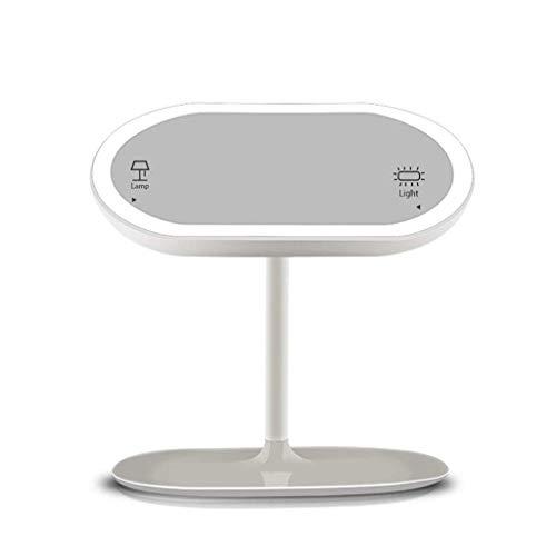 LLG Household Items& Espejo de baño con Luces y Almacenamiento, Espejo de Maquillaje Iluminado con Luz Natural Luces LED Ajustable de Brillo y Recargable sin Cuerda