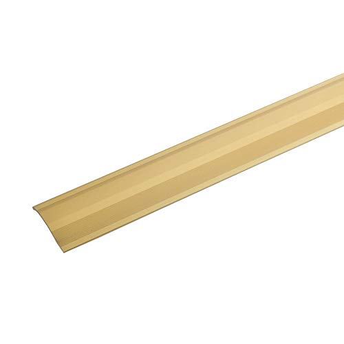 acerto 38236 Alu Höhenausgleichsprofil, 100cm, gold * 2-16mm * selbstklebend * Übergangsprofil für Laminat, Parkett & Teppich | Übergangsleiste, Bodenprofil für Fußböden | Übergangsschiene