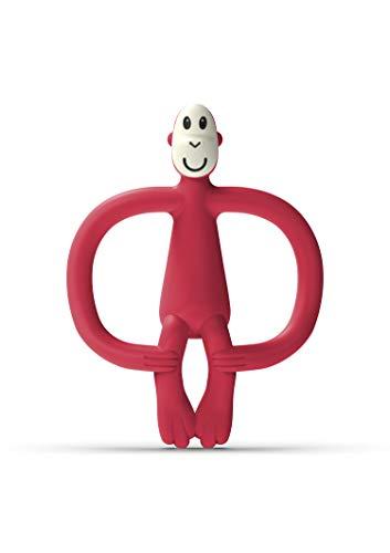 Matchstick Monkey Original Juguete de Dentición Mono, Rojo (Rubine), 6-18 Meses