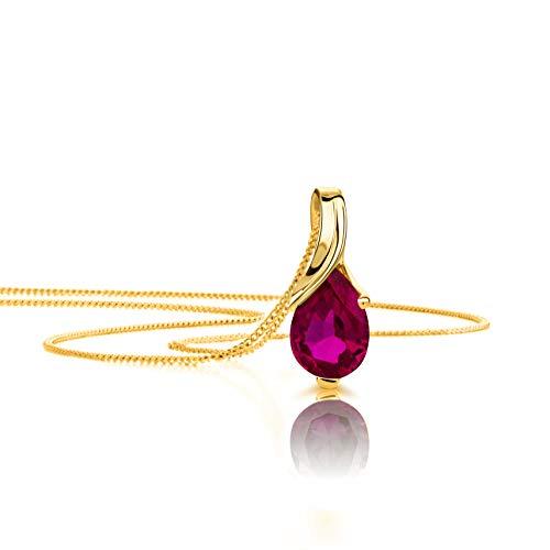 Orovi Halskette Damen Gelbgold 9 Karat/375 Gold Anhänger mit Rubin Kette 45 cm Schmuck für Frauen