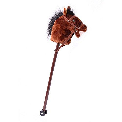 small foot 4105 Steckenpferd 'Donner' mit weichem Textilkopf und einem Holzstecken mit zwei Rollen