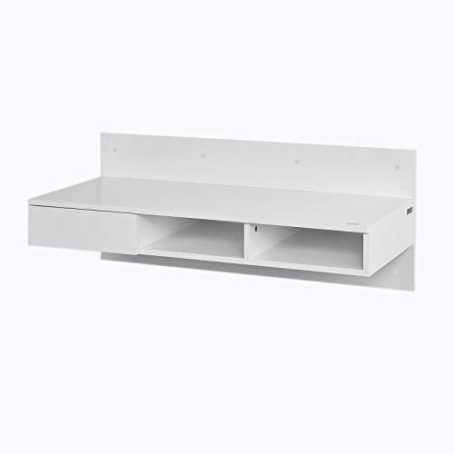 SoBuy Tavolo da Muro,Mensola a Parete,scrivania,con casetto,Bianco,FWT30-W,IT