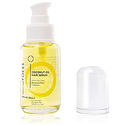 Coconut Oil Hair Serum - Infused with Raw Virgin Olive Oil, Sweet Almond, Keratin, Algae Extract - Rejuvenate, Strengthen and Restore Hair to Natural Beauty - 50ml