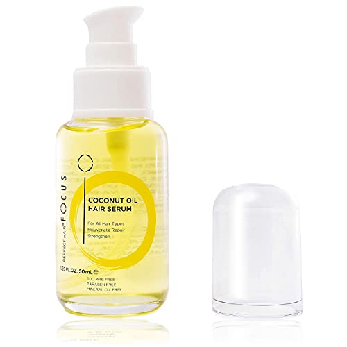 Perfect Hair Coconut Oil Hair Serum - Natural Hair Oil Infused with Raw Virgin Olive Oil, Sweet Almond and Keratin - Smoothing Hair Oil for Frizzy, Dry & Damaged Hair - 50ml (1 Pack)