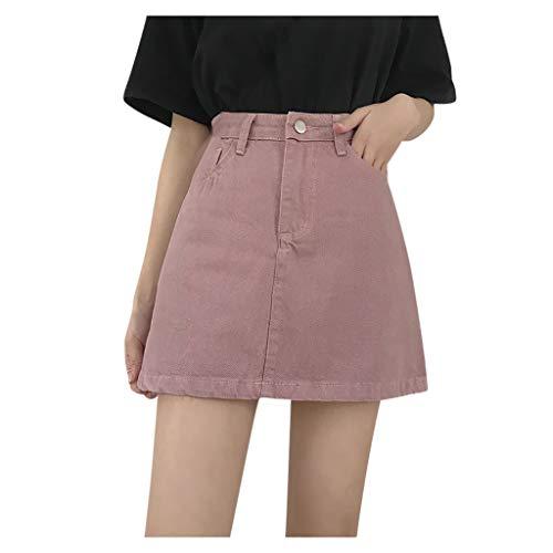 Gugavivid Damenmode Einfarbiger Jeansrock Sommer Freizeit Hohe Taille Lässiges Kurzes Kleid(Pink,XXL)