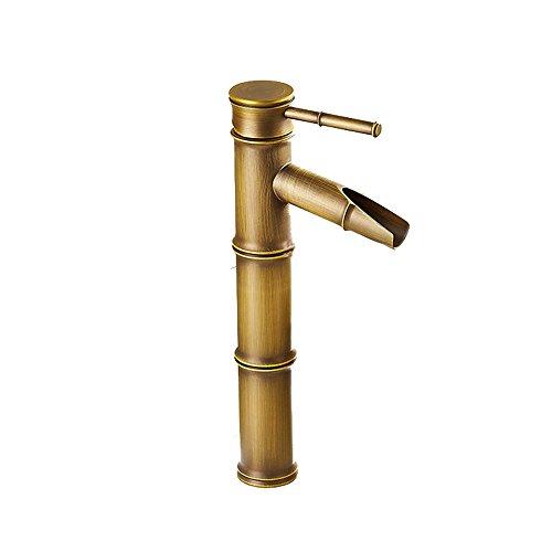 Jolicobo Vintage Bambus Wasserhahn Antik Bronze Full Copper Wasserhahn Küche Badezimmer Hotel Waschbecken Wasserhahn 3 Joints Break Mouth Braun