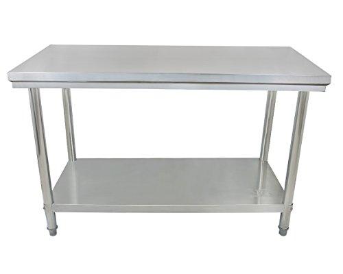 Beeketal 'BA120' Gastronomie Edelstahl Arbeitstisch 120 x 60 cm, Tisch bis 120 kg belastbar, Profi Gastro Küchentisch mit extra großer unteren Ablagefläche und justierbaren Stellfüßen