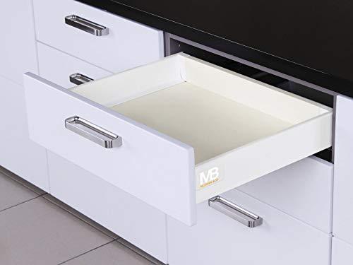 SOTECH Système de Tiroir SO-BOX Blanc Hauteur 84 mm avec barre lateral Profendeur 450 mm Capacité de charge de tiroir jusqu'à 40 kg Soft-Close