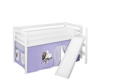 Lilokids Spielbett JELLE Pferde Lila Beige - Hochbett weiß - mit schräger Rutsche und Vorhang