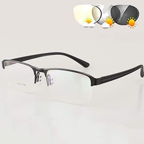 DOUBLX Gafas de Lectura bifocales, Gafas de Sol fotocromáticas de transición de Color Gris Oscuro, Doble Uso para protección UV al Aire Libre, Gafas de Lectura para computadora,Negro,+3.5
