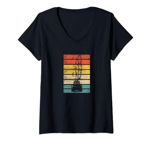 Mujer Retro Escritor Autor Novelista Vintage Libro Editorial Camiseta Cuello V